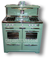 1952 Wedgewood Double Oven Antique Stove, in Mint Green Porcelain, with White Knobs and Handles