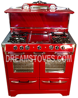 1952 O'Keefe & Merritt Antique Stove, Model- 850-G in Red Porcelain, with Black Knobs and Handles