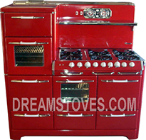 1953 O'Keefe & Merritt Antique Stove, Model- 5850L in Red Porcelain, with White Knobs and Handles