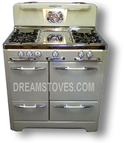1953 O'Keefe & Merritt Antique Stove, Model 405 in yellow exterior Porcelain, with White Knobs and Handles Available from DreamStoves.com