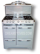 1951 O'Keefe & Merritt Antique Stove, Model 420  in white exterior Porcelain, with white Knobs and Handles Available from DreamStoves.com