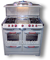 1952 O'Keefe & Merritt Antique Stove, Model 850-G in Butter-Cup Porcelain with Red Knobs and Handles