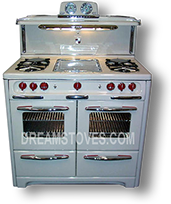 1953 Wedgewood Double Oven Vintage Stove, in Almond Porcelain, with Red Knobs and Handles