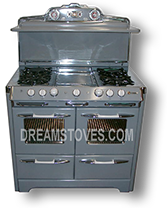 1953 O'Keefe & Merritt Antique Stove, Model- 850-G in Gun-Metal Gray Porcelain, with White Knobs and Handles Available from DreamStoves.com
