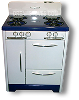 "1947 30"" - O'Keefe & Merritt Vintage Stove  with blue porcelain cook-top and kick-plate"