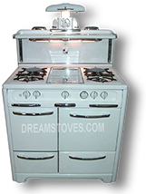 "1948 36"" wide Wedgewood ""high-Back"" Antique Stove, in White exterior Porcelain, with White Knobs and Handles"