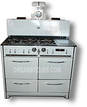 1939 Wedgewood Double Oven Antique Stove, in White Porcelain, with White Knobs and Handles Available from DreamStoves.com