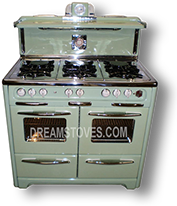 1948 Wedgewood Double Oven Antique Stove, in Mint Green Porcelain, with White Knobs and Handles