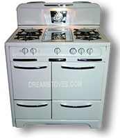 "1948 36"" wide Wedgewood ""Low-Back"" Range, in White exterior Porcelain, with White Knobs and Handles"