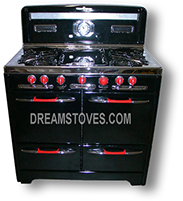 "1954 O'Keefe & Merritt Antique Gas Stove, ""Low-Back"" Model- 500  in Black Porcelain, with red Knobs and Handles"