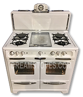 1952 Wedgewood Double Oven Antique Stove, in White Porcelain, with White Knobs and Handles