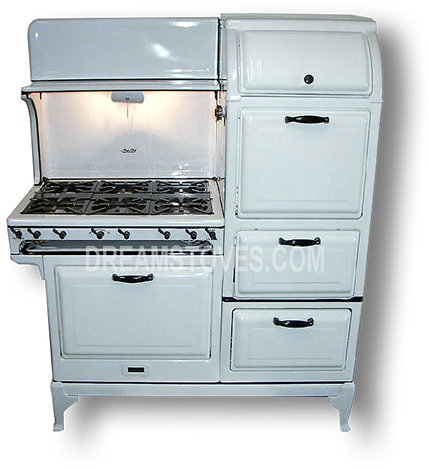 1930s magic chef antique stove in white porcelain with black knobs and handles