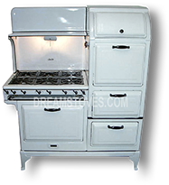 1930s Magic Chef 1000 Antique Stove, in White Porcelain, with Black Knobs and Handles Available from DreamStoves.com