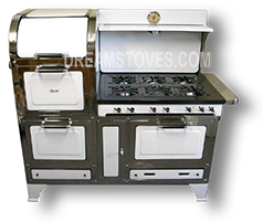 1930s Magic Chef 6300 Series Antique Stove, in White Porcelain, with Black Knobs and Handles Available from Dream Stoves