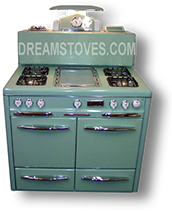 "1947 Occidental ""High-Back"" Antique Stove, in custom Green exterior Porcelain"