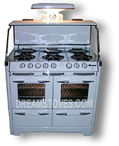 1948 O'Keefe & Merritt Vintage Stove, Model- 900-G in white Porcelain, with white Knobs and Handles