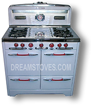 "1953 O'Keefe & Merritt Antique Gas Stove, ""Low-Back"" Model- 500 in white Porcelain, with red Knobs and Handles Available from DreamStoves.com"
