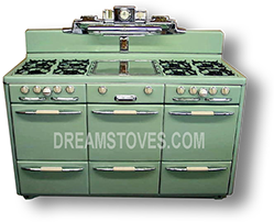 "1947 Roper ""Town & Country"" Double Oven Vintage Stove, in custom Green Porcelain"