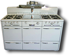"1947 Roper ""Town & Country"" Triple Baking Oven Vintage Stove, in White"