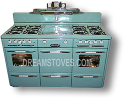"1947 Roper ""Town & Country"" Double Oven Vintage Stove, in Robin's Egg Blue Porcelain"