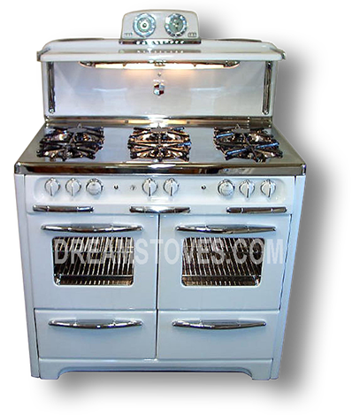 wedgewood double oven vintage stove in white porcelain with white knobs and handles