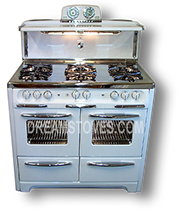 1953 Wedgewood Double Oven Vintage Stove, in White Porcelain, with White Knobs and Handles