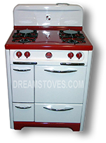 "1953 30"" wide Wedgewood Vintage Stove, with Red Porcelain Cook-Top and Kick-Plate, with Red  Knobs and Handles"