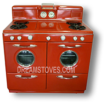 1948 Western-Holly Double Oven Antique Gas Stove in custom Burnt-Orange Porcelain