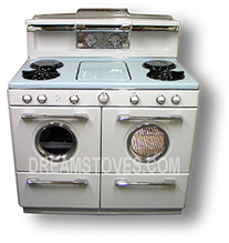 1954 Western-Holly Double Portal Antique Gas Stove with Robin's Egg Blue Porcelain Cook-Top