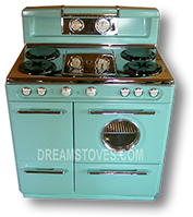 1953 Western-Holly Double Oven Antique Gas Stove in custom Robin's Egg Blue Porcelain