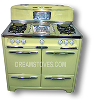 "1953 Wedgewood ""Low-Back"" Antique Gas  Stove, in Yellow exterior Porcelain, with White Knobs and Handles"