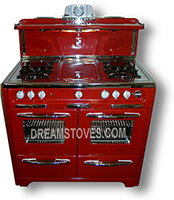 1951 Wedgewood Double Oven Antique Stove, in Red Porcelain, with White Knobs and Handles